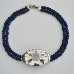 Canulesieraad voor zilveren canule Alpaca sieraad met lapis lazuli snoeren