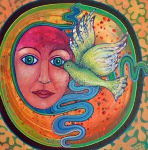 Acryl schilderij, 30x30cm